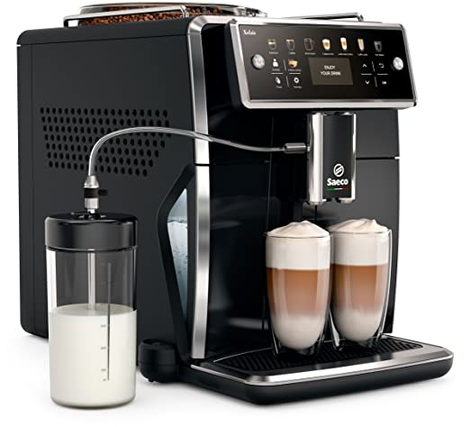 Saeco sm7580/00 Xelsis – Cafetera automática, pantalla LED con teclas de marcación directa, hygie de Steam, 1.7 L, color negro
