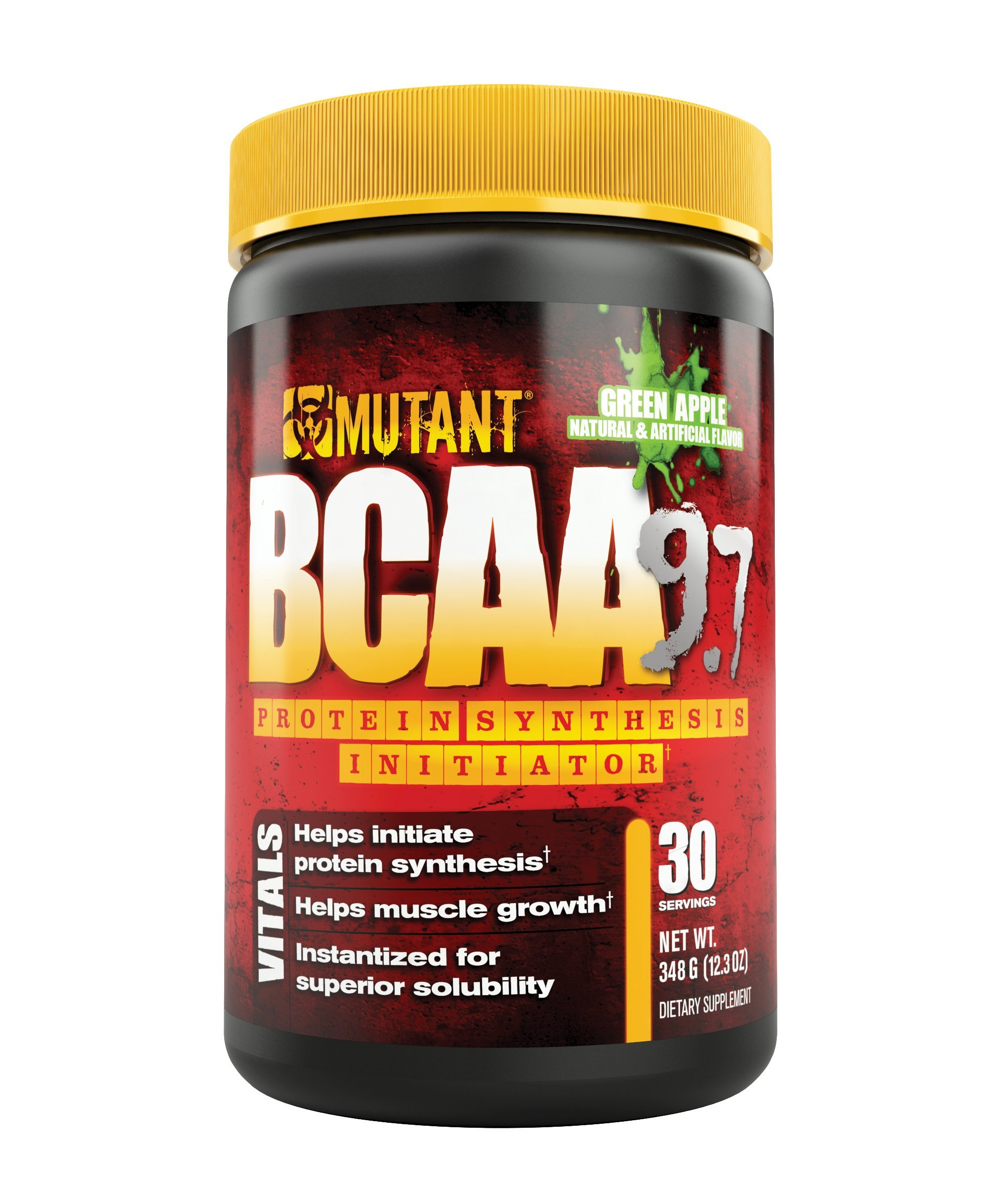 MUTANT BCAA Powder 9.7, Branched Chain Amino Acids with L-Arginine & Electrolytes for Muscle Building and Nitric Oxide Enhancement, Green Apple, 30 Servings