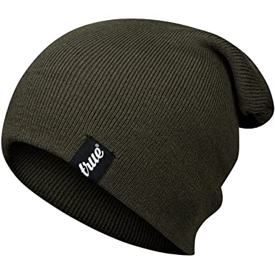 TRUE VISION Mens Beanie Hat - Army Green - Slouch or Turn Cuff for  Traditional Beanie 6f0524d9a04