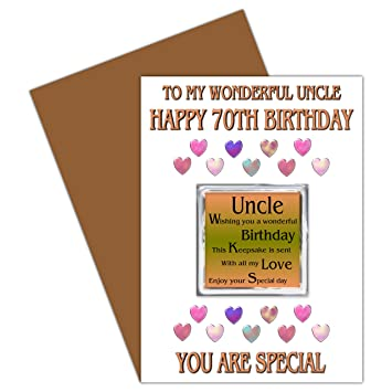 Uncle 70th Happy Birthday Card With Removable Magnet Gift