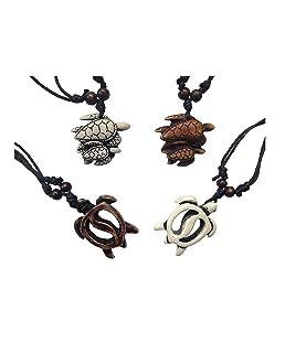 ASKANA 4pcs Fashion Cute Sea Turtle Pendant Necklace Set with Adjustable Cotton Cord (Set 5)