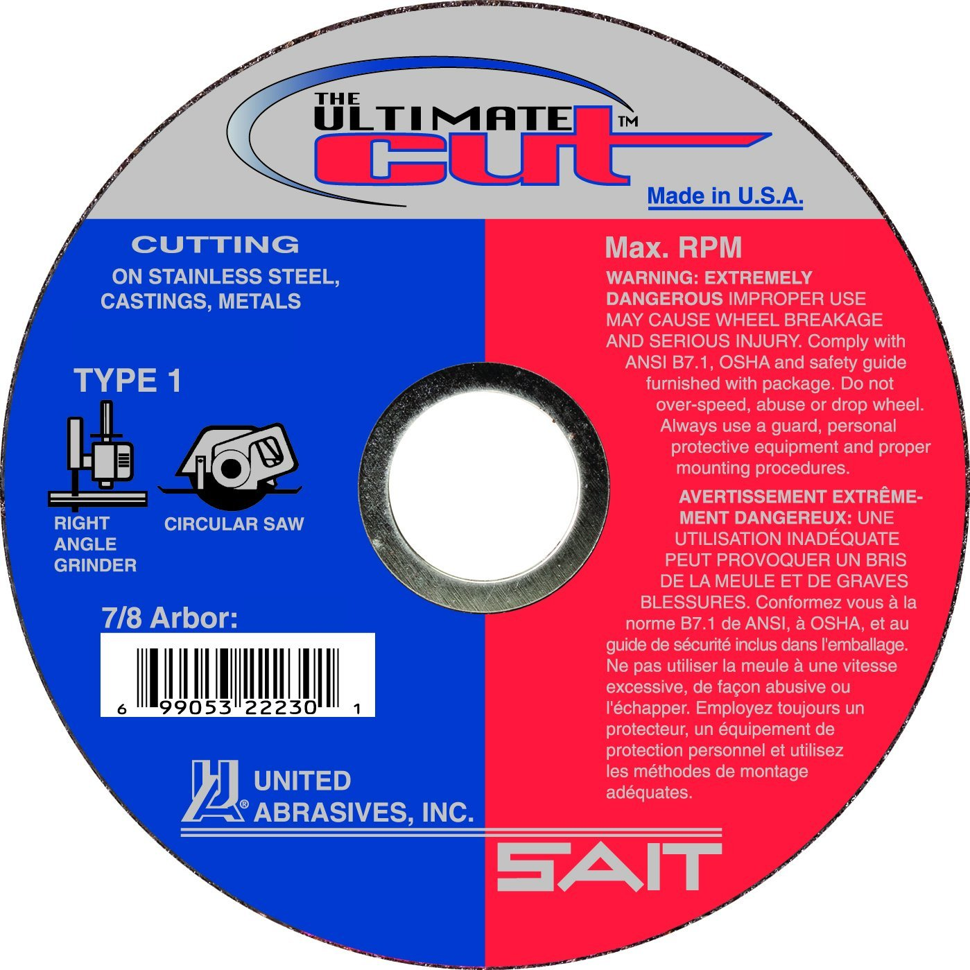 5 x .045 x 7//8 50 Pack United Abrasives-SAIT 22235 SAIT Ultimate Cut Type 1 Cutting Wheel