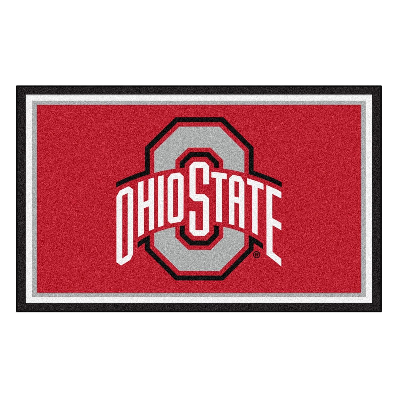 FANMATS NCAA Ohio State University Buckeyes Nylon Face 4X6 Plush Rug