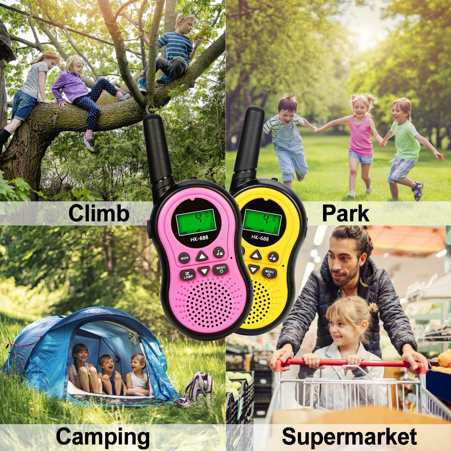 ZOFUNNY 4 Pack Kids Walkie Talkies for Boys Girls Rechargeable Radios 2 Way Long Range 22 Channel Walkie Talkies with Flashlight FRS Radio Toys Outdoor Adventure Camping Hiking Holiday Birthday Gifts by ZOFUNNY (Image #5)