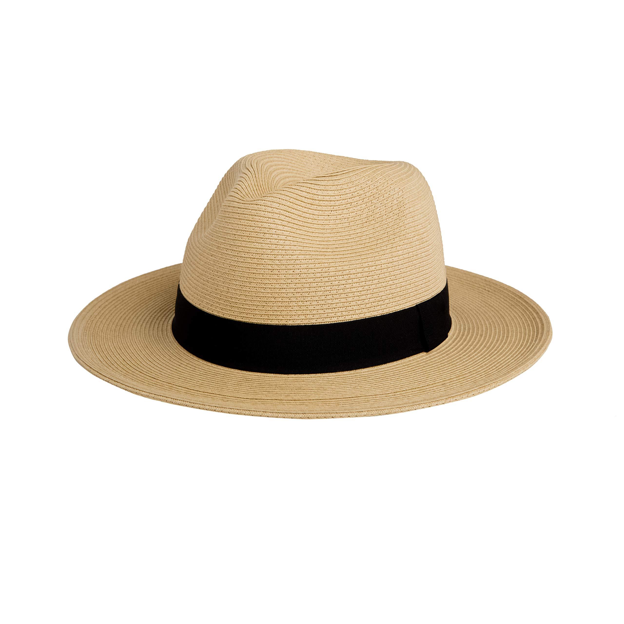 Pineapple&Star Sun Straw Fedora Beach Hat Fine Braid UPF50+ for Both Women Men (Medium, Beige) by Pineapple&Star Hat