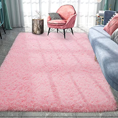 Pacapet Fluffy Area Rugs Pink Shag Rug For Girls Bedroom Plush Furry Rugs For Living Room Fuzzy Carpet For Kid S Room Nursery Home Decor 4 X 5 9 Feet Home Kitchen