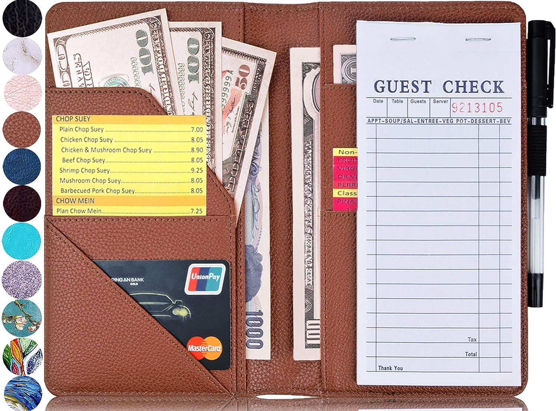 "Glitter Purple Guest Check Book Holder Money Pocket Fit Server Apron YOMFUN Waitress Book 5X7.7/""Server Book Server Wallet Server Pads Restaurant Waitstaff Organizer"