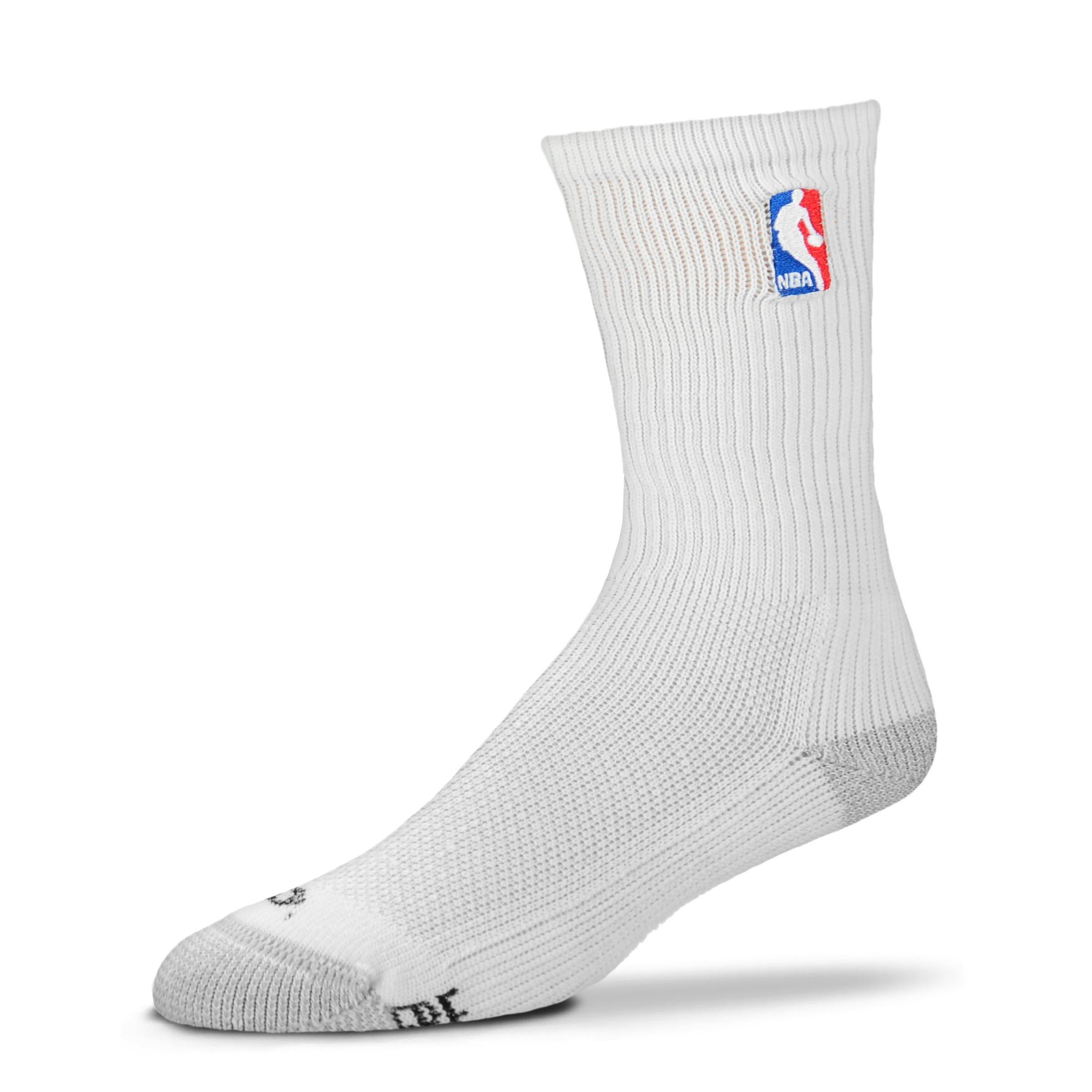 For Bare Feet Official NBA Logoman White Crew Socks Men's Size Medium 5-10