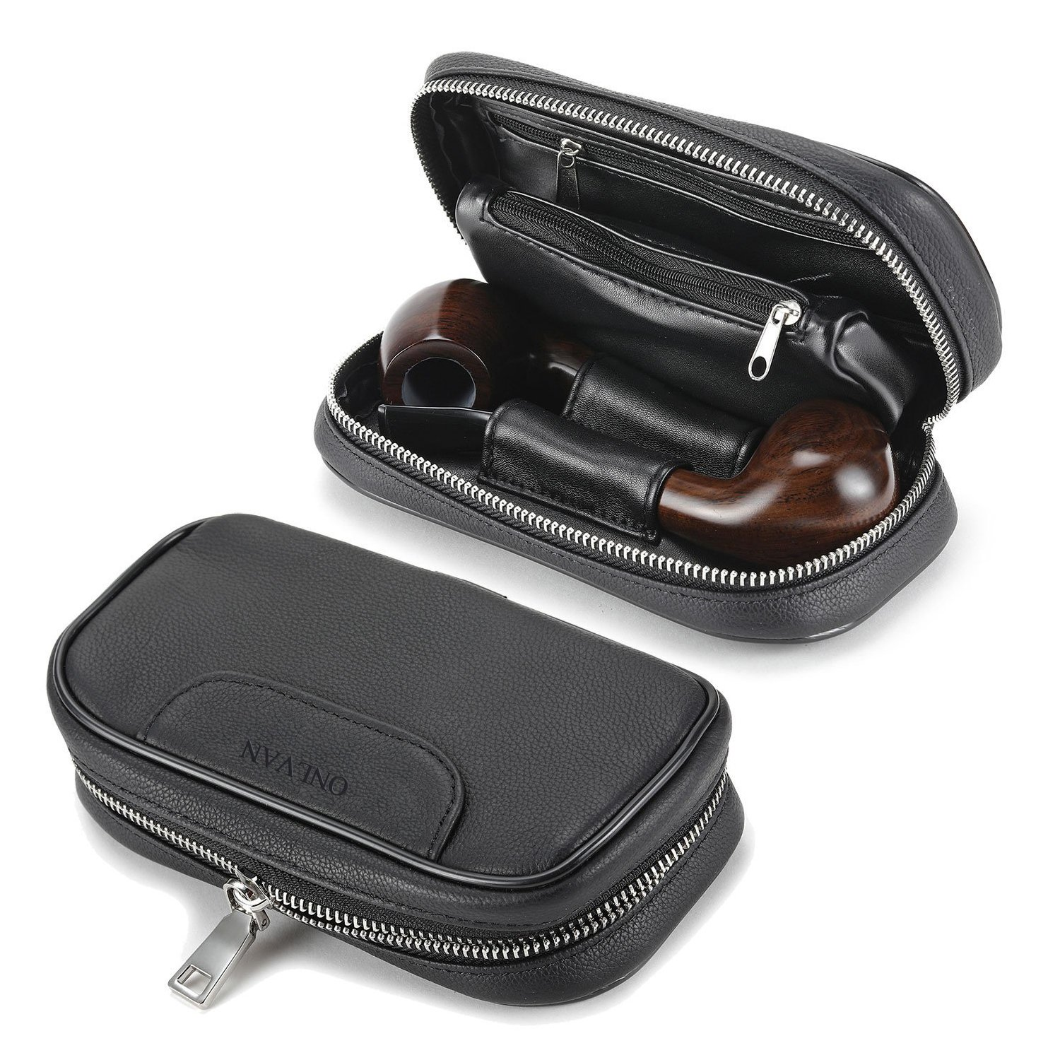 Soft Genuine Leather pipe tobacco pouch case with 2 pipe holder pocket (Black)