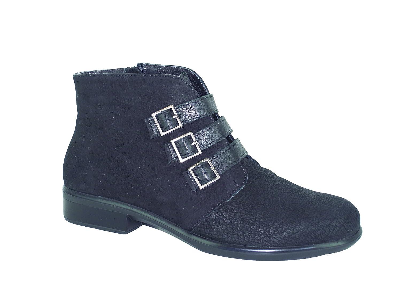 NAOT Women's Calima Boot B00TQAAWPI 40 EU/8.5-9 M US|Black Crackle Leather/Black Velvet Nubuck/Black Raven Leather