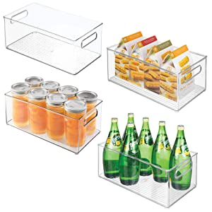 "mDesign Deep Stackable Plastic Kitchen Storage Organizer Container Bin with Handles for Pantry, Cabinets, Shelves, Refrigerator, Freezer - BPA Free - 14.5"" Long, 4 Pack - Clear"