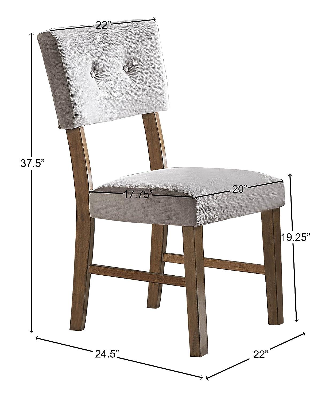 Homelegance Edam Upholstered Dining Side Chair, Set of 2, Gray