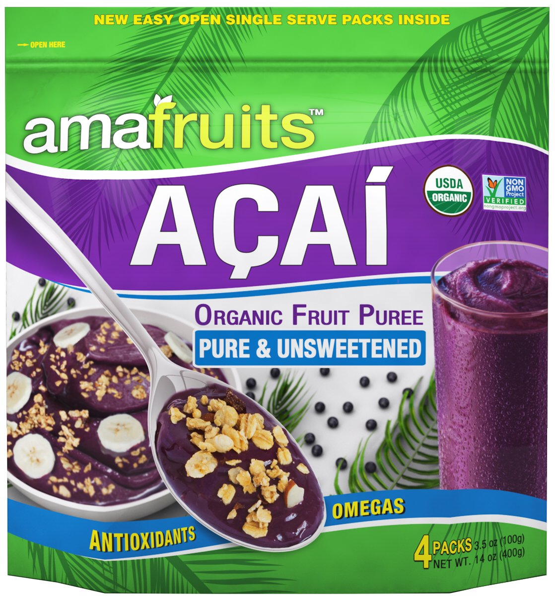 Amafruits Acai Berry Puree - Pure & Unsweetened - 144 Smoothie Packs by Amafruits