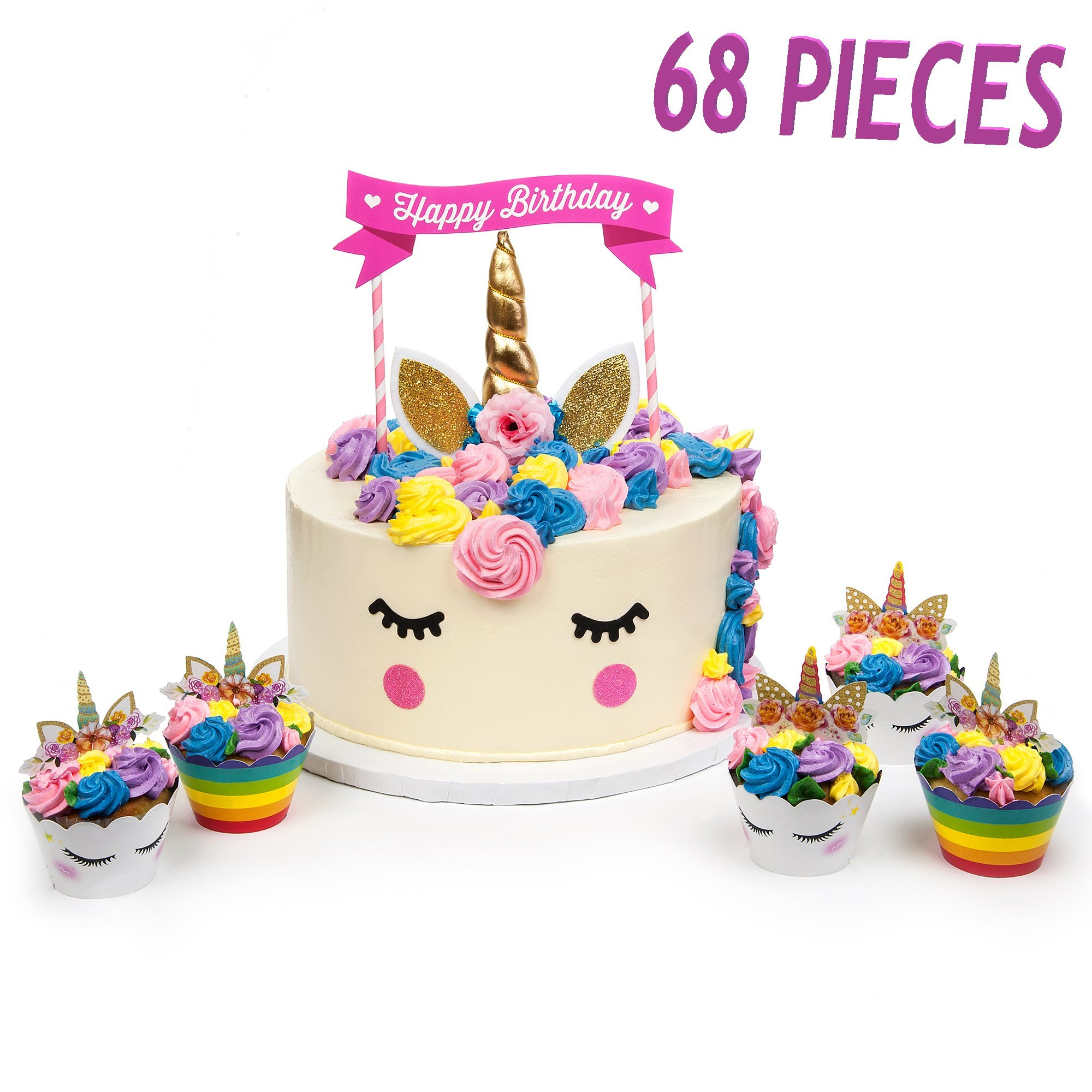 KITCHEN-PRO 2018 Gold Unicorn Birthday party Cake & cupcake/unicorn Muffin Toppers set Unicorn Horn Ears flowers Set Unicorn Party Decoration for baby shower wedding & birthday party 68 pieces