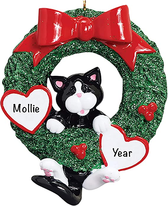 Amazon Com Holiday Traditions Cat Christmas Tree Ornaments 2021 Charming Personalized Tuxedo Wreath Ornaments For Christmas Tree Premium Polyresin Tuxedo Wreath Christmas Ornaments And Tuxedo Wreath Gifts Home Kitchen