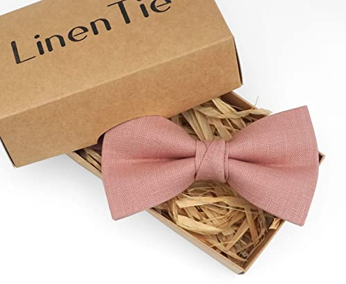 Pink Bowties.Light Pink Solid Bow Ties.Mens Bow Ties.Pink  Bowties for Men.Solid Linen Bowties.Wedding.Groomsmen.Gifts.