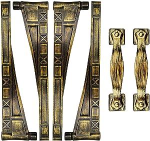 Magnetic Decorative Garage Door Accents Hardware Set, 4 Hinges & 2 Square Style Handles, Magnet Mounted, Bronze