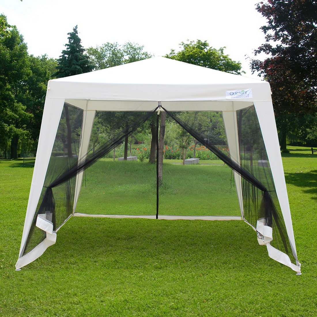 Quictent 10'x10'/7.9'x7.9' Outdoor Trapezoid Canopy Party Tent Gazebo Screen House Sun Shade Shelter with Fully Enclosed Black Mesh Side Wall Beige