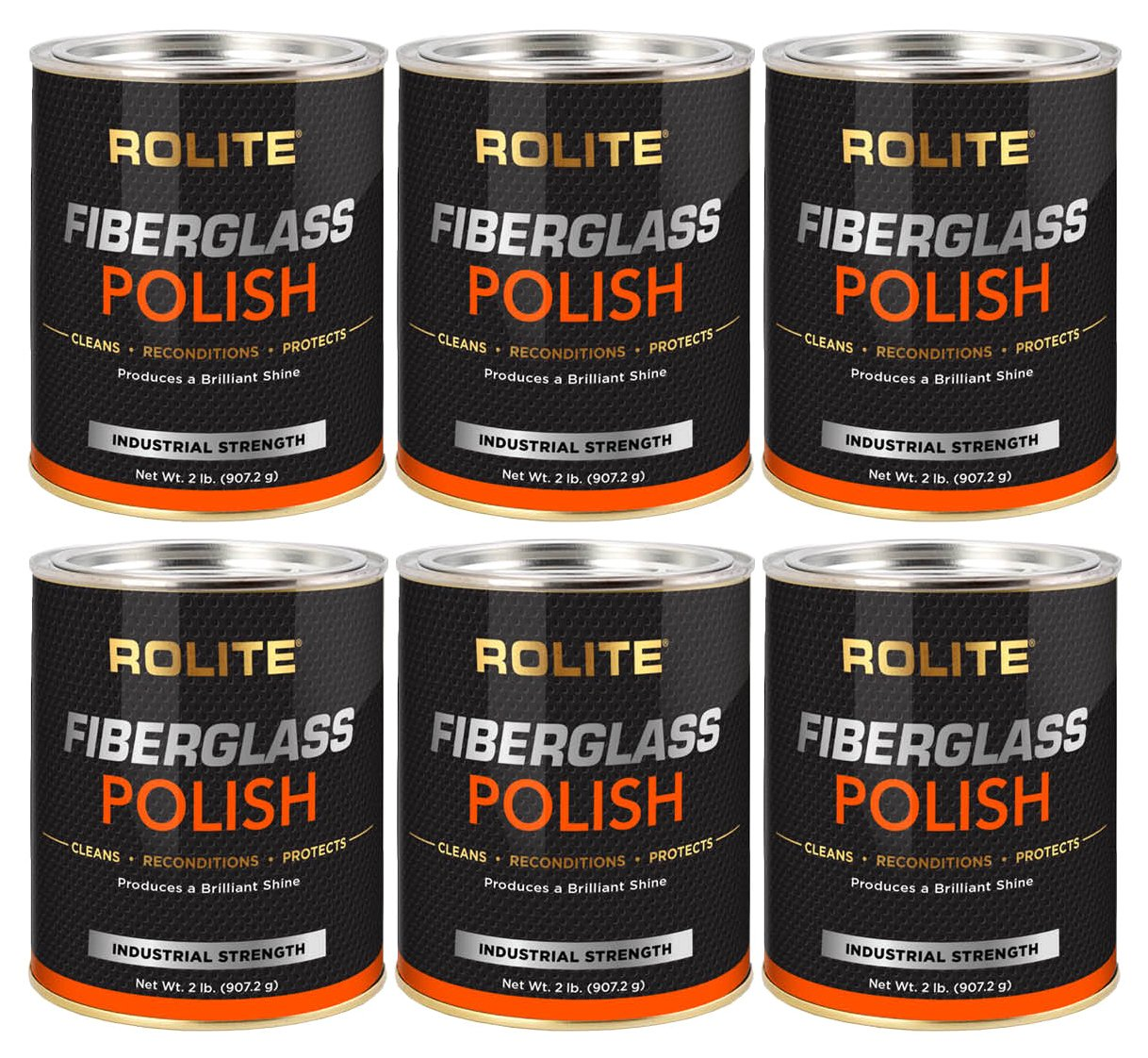 Rolite Fiberglass Polish (2lb) Removing Water Spots, Staining, Oxidation & Hairline Scratches from Boats, Clearcoat, Acrylic and Polycarbonate 6 Pack