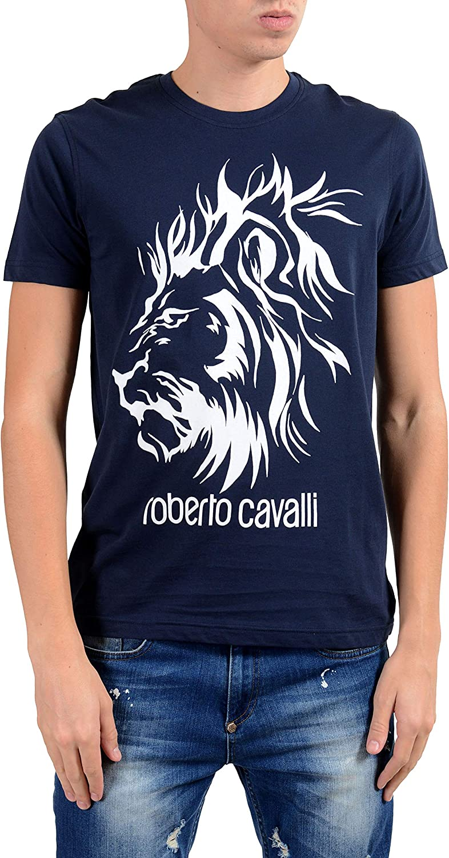 ROBERTO CAVALLI Mens White Graphic Leopard Crewneck T-Shirt Size US L IT 52