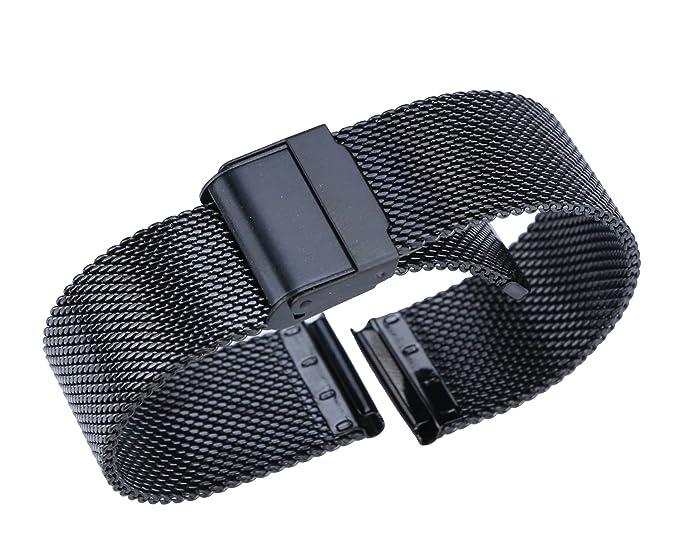 21mm lujo de reemplazo pulsera milanesa negro de malla de acero inoxidable reloj inteligente reloj clásico