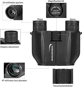 Aurosports 10x25 Binoculars for Adults and Kids