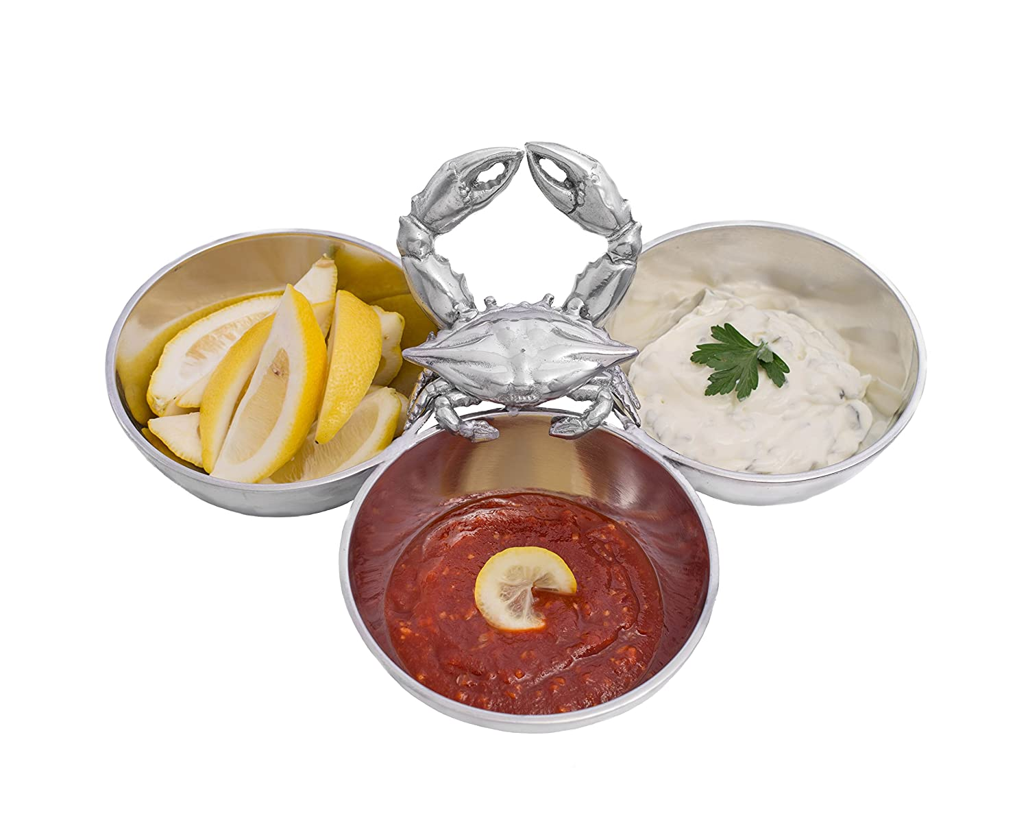 Coastal Crab 3-Section Condiment Server Bowl