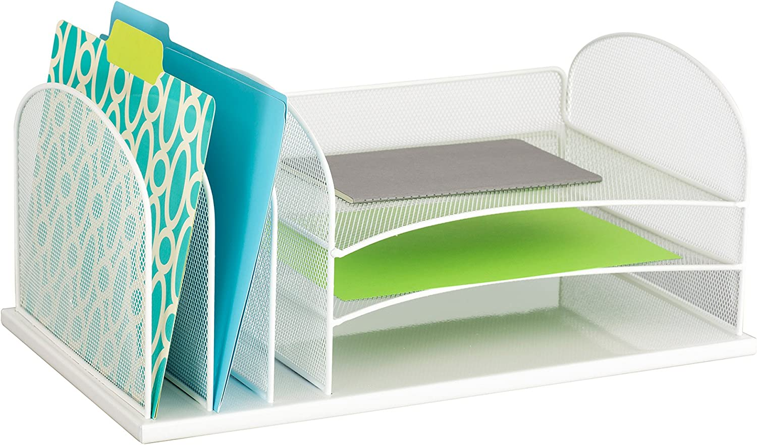 Safco Products Onyx Mesh 3 Sorter/3 Tray Desktop Organizer 3254WH, White Powder Coat Finish, Durable Steel Mesh Construction