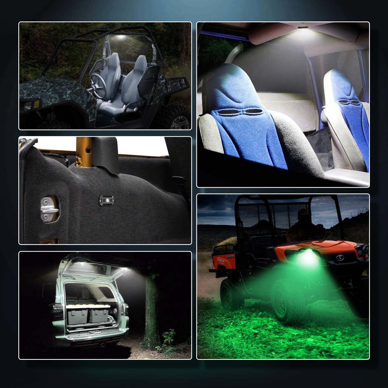 OFFROADTOWN LED Dome Light W// Switch Universal LED Light Utility Roll Cage Light Car Interior Reading Light LED Rock Lights Interior Dome Light for UTV RZR 4x4 Can-Am Polaris Ranger Truck-White//Green