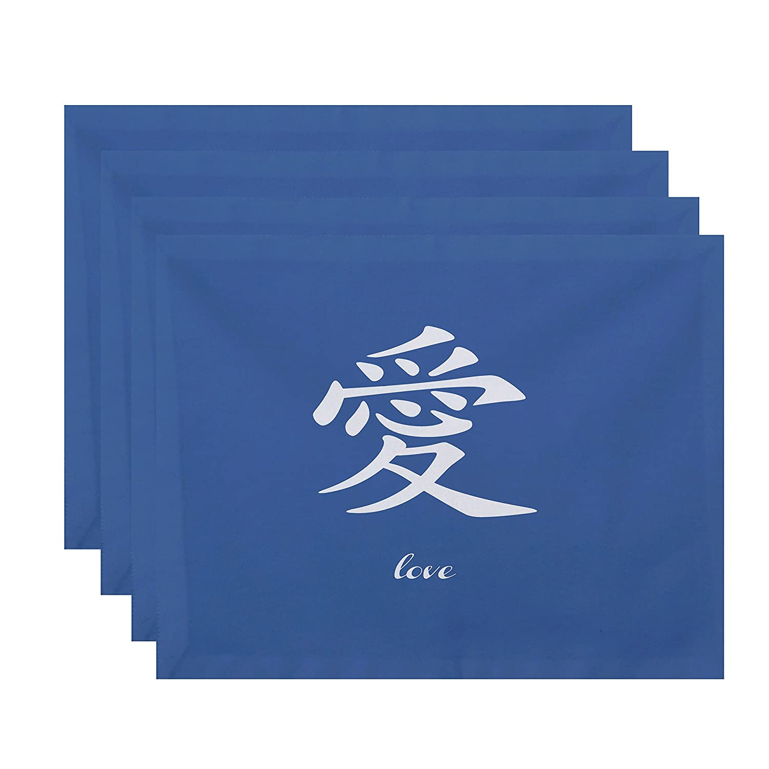 Word Print Placemat Love E by design PT4WN509BL16 18x14-inch Blue