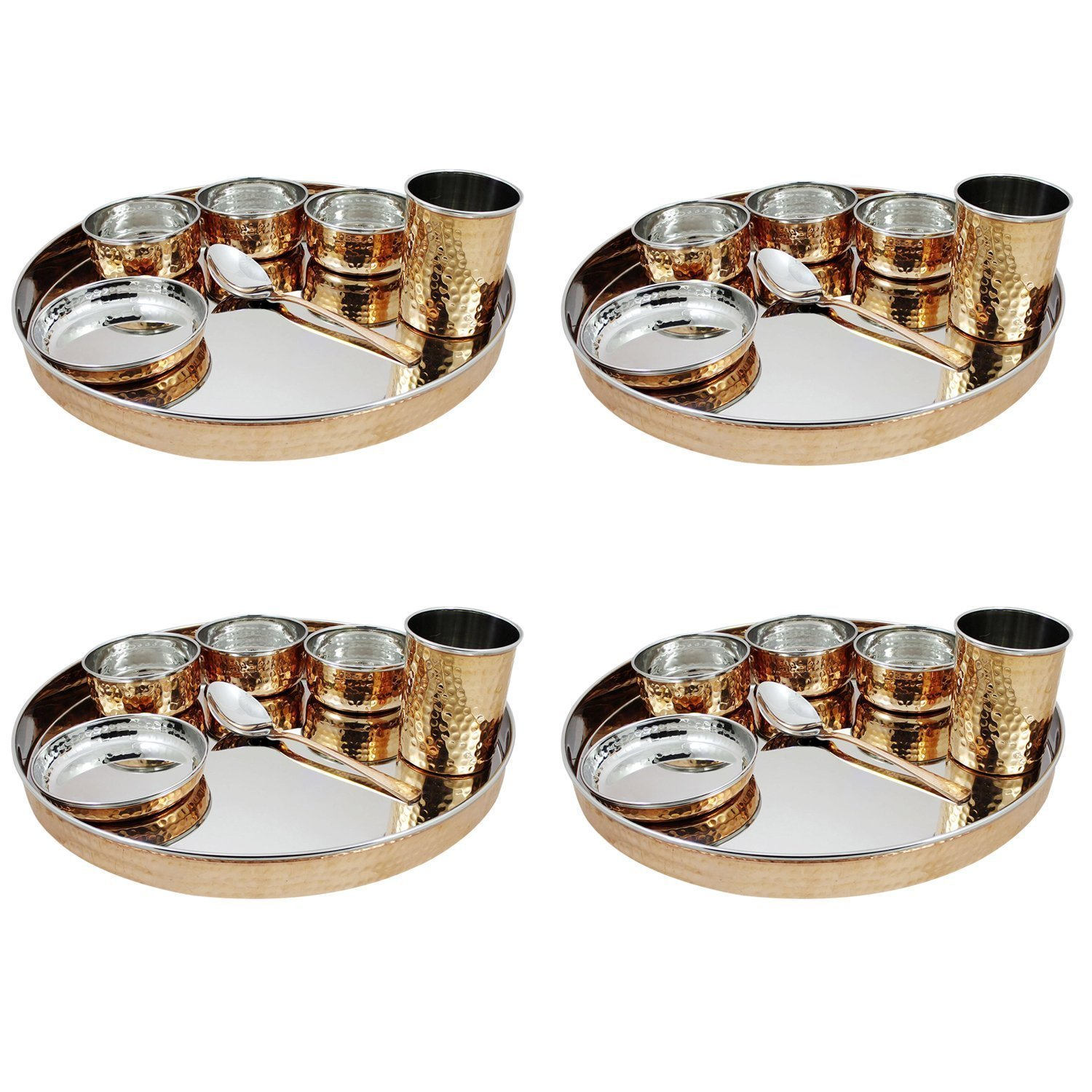 Indian dinnerware 28-Piece set stainless steel copper traditional dinner set of thali plate, bowls, tumbler and spoon, diameter 13 inch