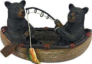 2 Black Bears Fishing Canoe Figurine Rustic Home Cabin Decor 4.5