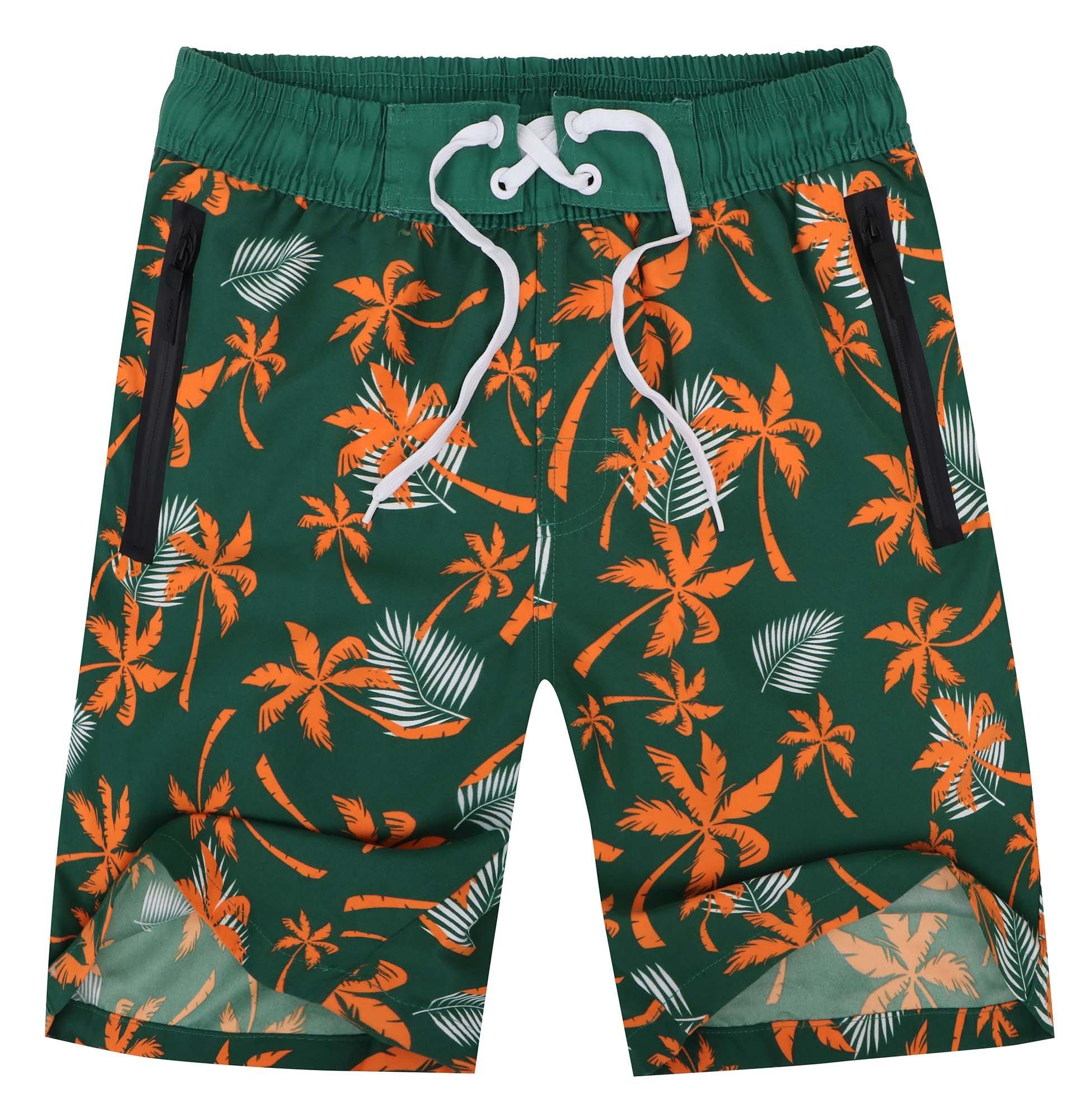 Halconia Men's Quick Dry Swim Trunks Beach Shorts w/Mesh Lining, Mark_Green, M