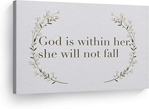 Smile Art Design God is Within Her She Will Not Fall Quote Scripture Wall Art Bible Verse Canvas Print Rustic Home Decor Ready to Hang Made
