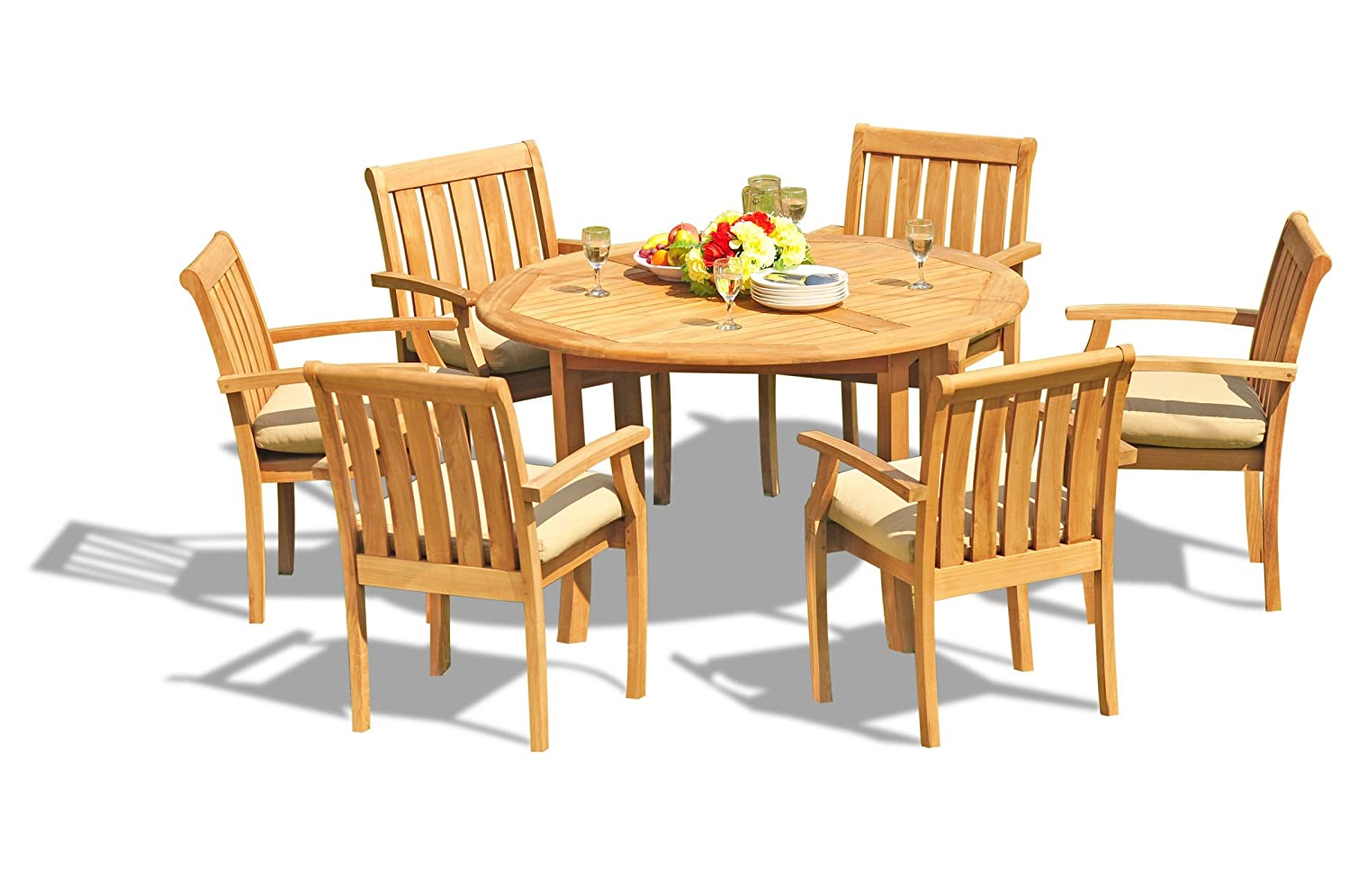52 Round Table.Amazon Com New 5 Pc Luxurious Grade A Teak Wood Outdoor Dining Set