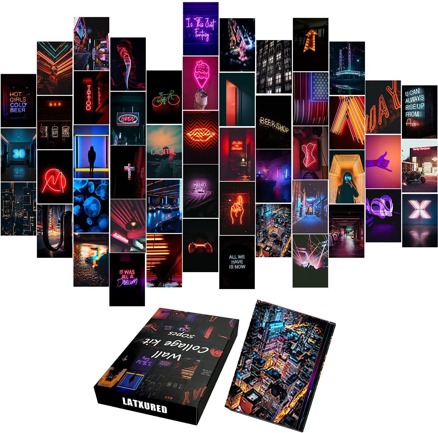 50PCS Neon Aesthetic Pictures Wall Collage Kit, Photo of Neon City Collections Collage Dorm Decors for Girl Teens and Women, Trendy Wall Art Prints Kit, Small Posters for Rooms