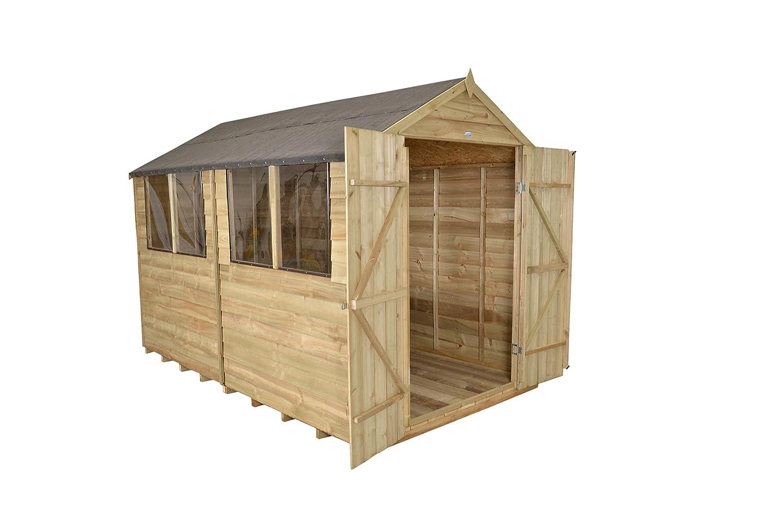 Apex Gartenhaus Druck behandelt 10 x 8 Double Door Holz Schuppen ...