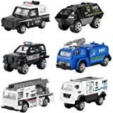 Hautton Diecast Police Cars Toy Vehicles, 6 Pack Alloy Metal Army Toys Model Cars Playset Police Patrol Jeep SWAT Truck…