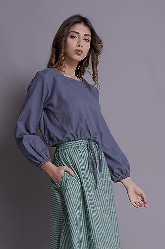 727c16ce Amazon.com: Ruffle sleeve crop top tunic, Waist string crop top, Adjustable crop  top - Custom made by Modern Move: Handmade