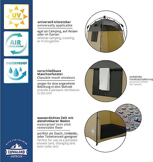 Portabele Intimit/é Tente De Douche Ext/érieure Amovible Tente De Dressage /Étanche Portable Up Toilettes Tentes pour Camping Plage Vestiaire Abri Abri Voyage