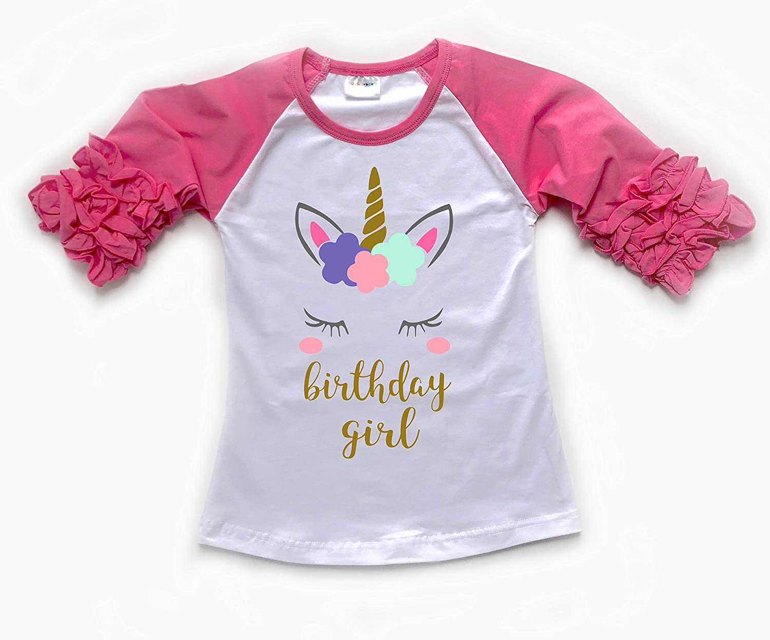 Unicorn Birthday Shirt Girls Ruffle Tee Size XL 8 9
