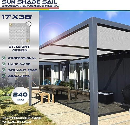 Windscreen4less Straight Edge Sun Shade Sail,Rectangle Heavy Duty 240GSM Outdoor Shade Cloth Pergola Cover UV Block Fabric – Custom Size Light Grey 17 X 38
