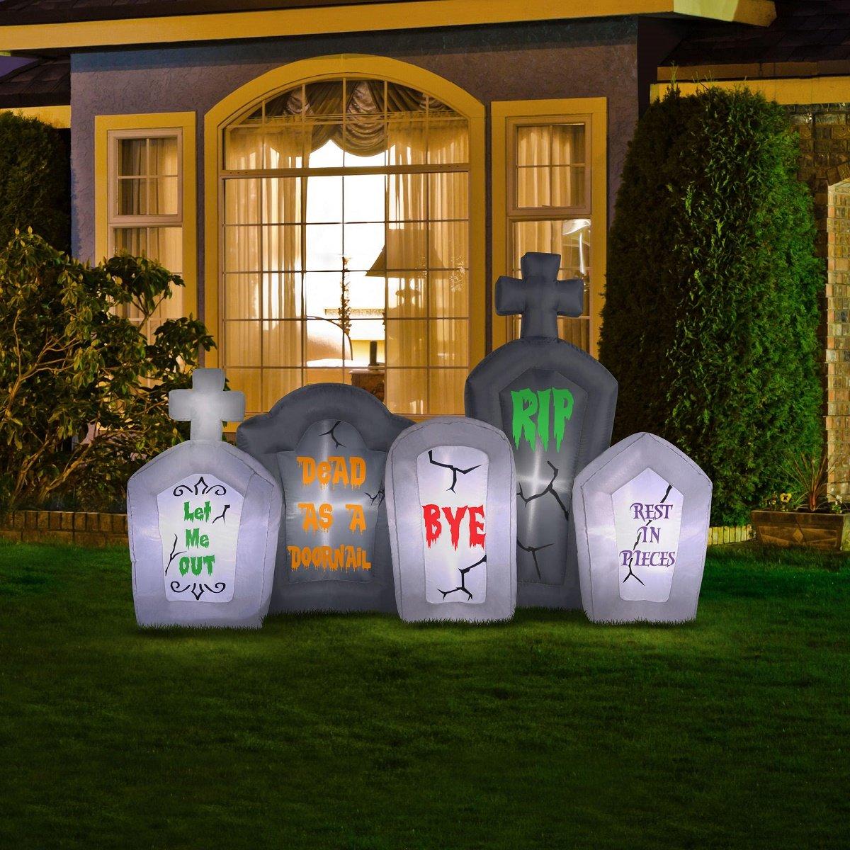 amazoncom halloween inflatable tombstone pathway with flashing lights garden u0026 outdoor