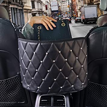 Black Car Handbag Holder,Bling Diamond Leather Seat Back Organizer Mesh Large Capacity Bag for Purse Storage Phone Documents Pocket,Barrier of Backseat Pet Kids