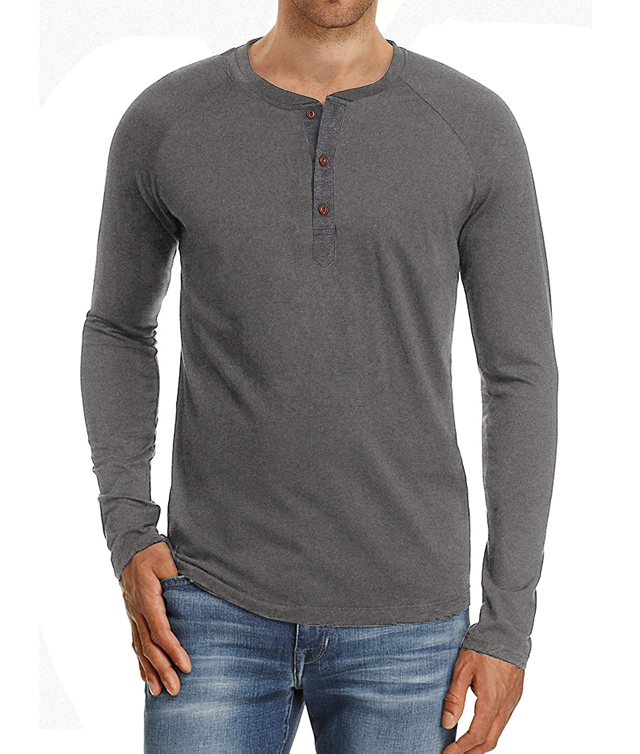Satankud Mens Casual Regular Fit Long Sleeve Henley T-Shirts Cotton Shirts