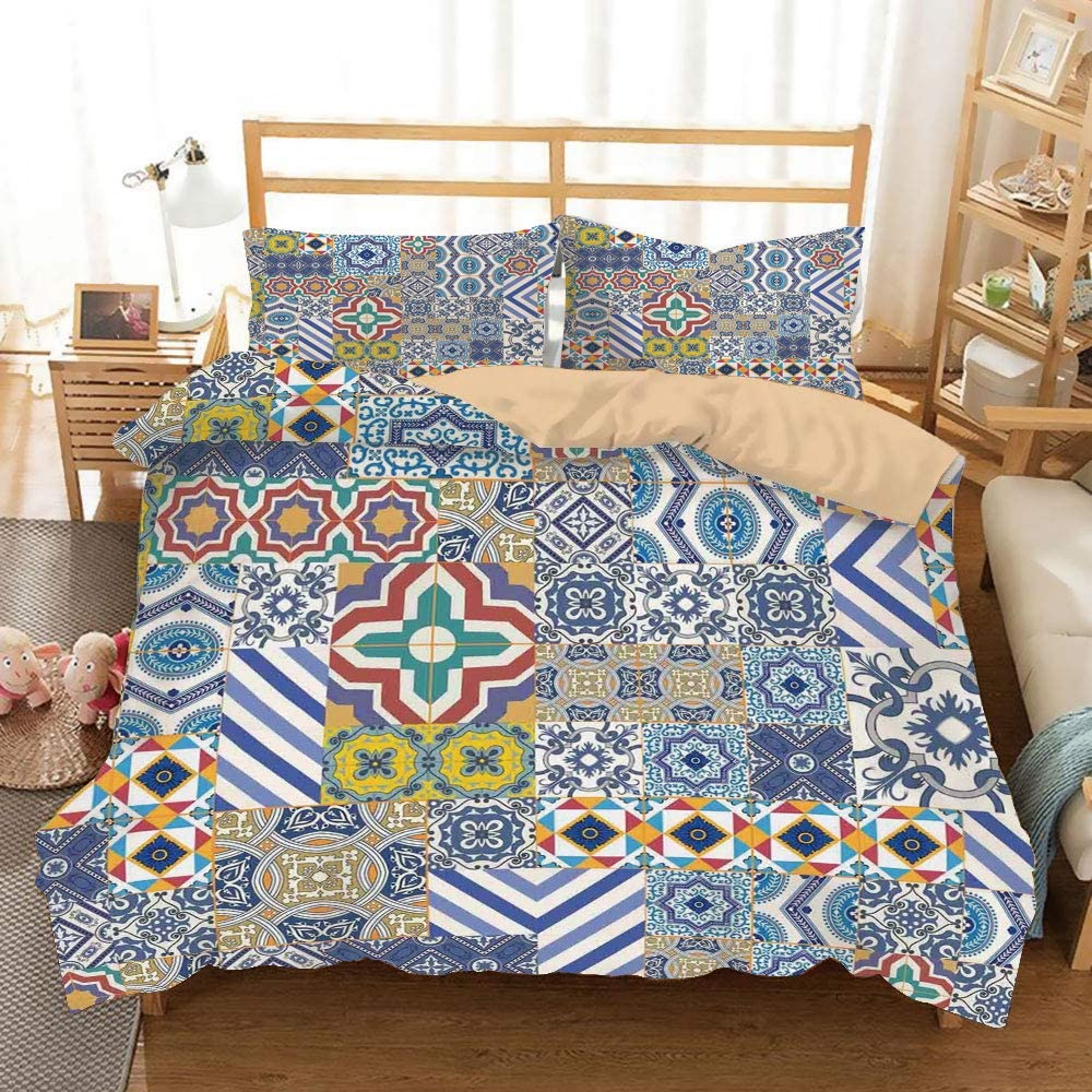 Moroccan Khaki Duvet Cover Set King Size,Moroccan Classic Mosaic Tile Inspired Patchwork Style Pattern Artwork Print,Decorative 3 Piece Bedding Set with 2 Pillow Shams,Blue Mustard