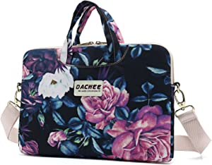 DACHEE Big Purple Rose Patten Waterproof Laptop Shoulder Messenger Bag Case Sleeve for 14 Inch 15 Inch Laptop Case Laptop Briefcase 15.6 Inch