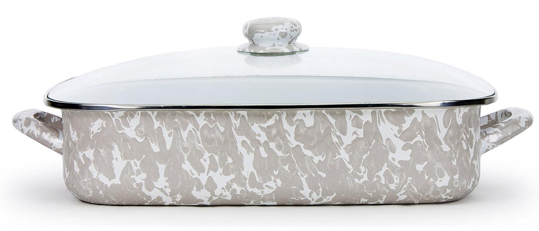 Sea Glass Teal Swirl Pattern Enamelware 16 x 12.5 x 4 Inch Lasagna Pan Set Golden Rabbit GL15