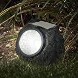 Solar Powered Rock Lights (Set of Four)- Low Voltage LED Outdoor Stone Spotlight Fixture for Gardens, Pathways, and Patios by Pure Garden