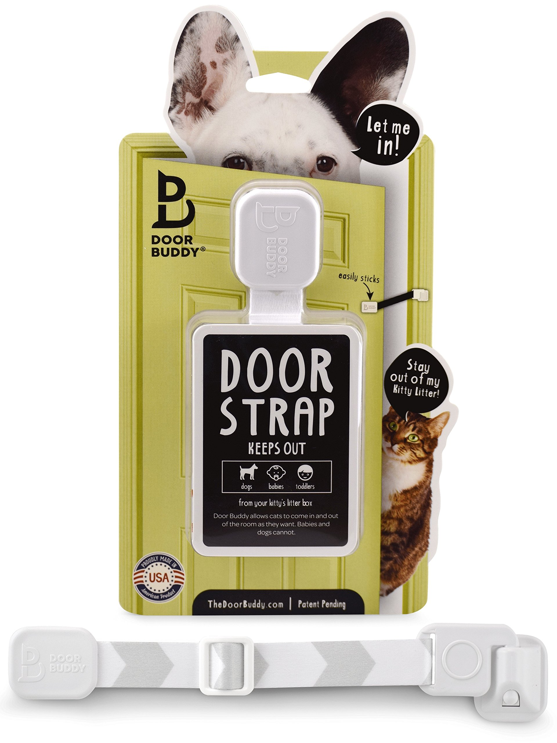 Door Buddy Adjustable Door Strap & Latch. Easy Way To Dog Proof Litter Box. N